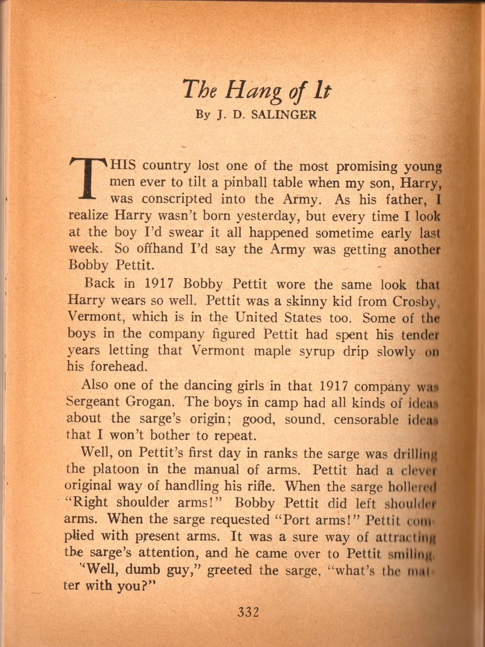 "The first page of J.D. Salinger's short story ""The Hang of It."""