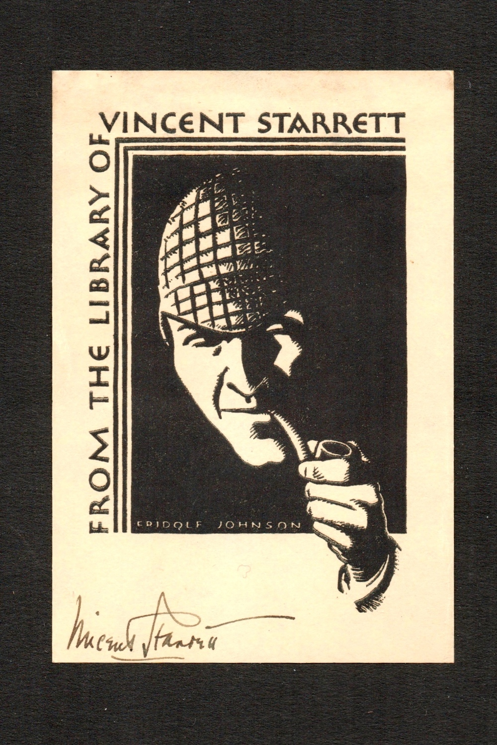 Fridolf Johnson's bookplate for Vincent Starrett, showing a friendly Sherlock Holmes, circa 1931.
