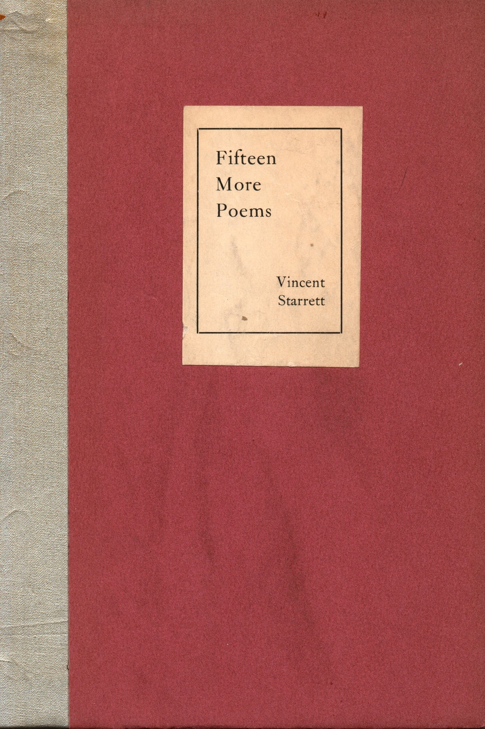 The stiff boards cover of Starrett's 1927 pamphlet of poems.