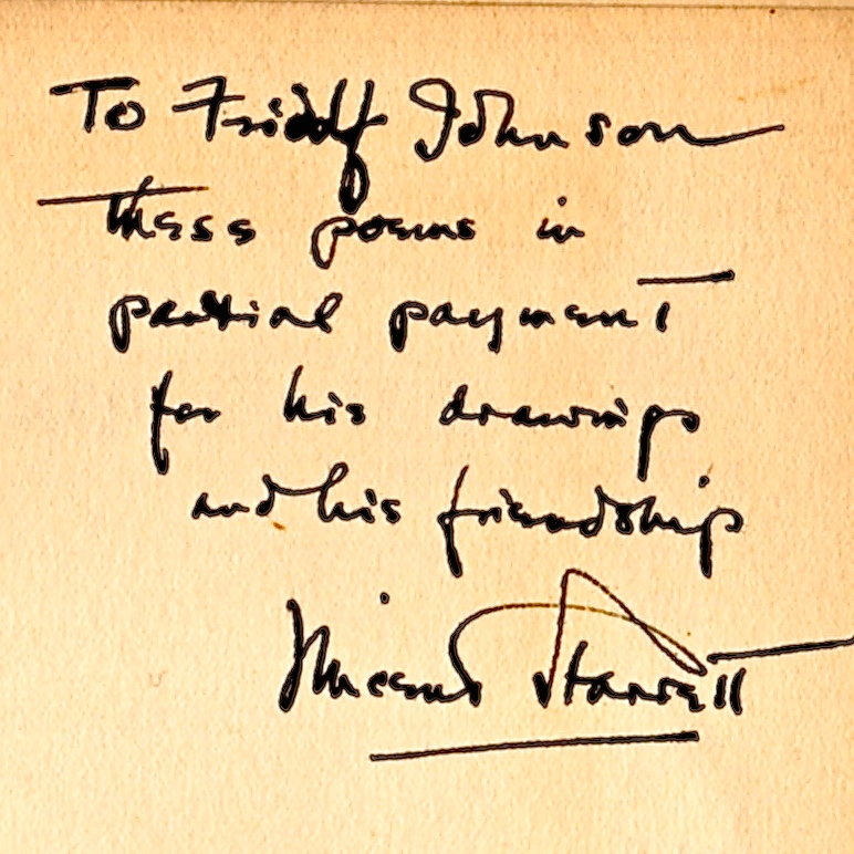 The inscription from Starrett to Johnson in the 1927 copy of Fifteen More Poems