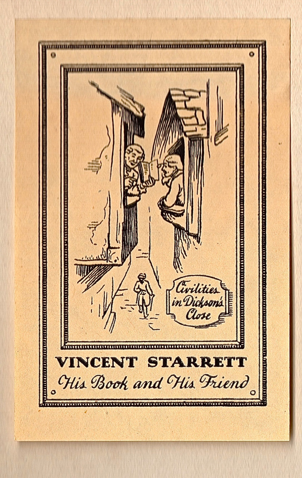 "Starrett's ""Dicksons Close"" bookplate. Although not signed, it was created by Fridolf Johnson for Starrett circa 1925."