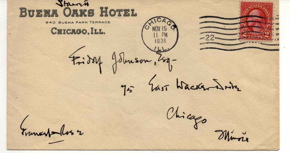The envelope for Starrett's note to Johnson. Can you make out what's in the lower left corner?  I can't.