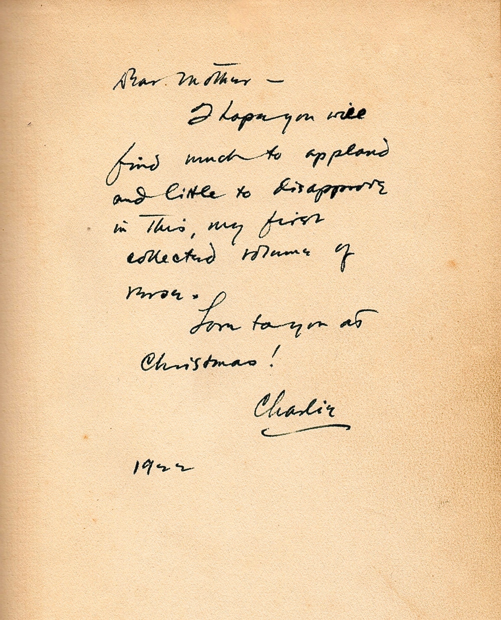 The rare inscription from Vincent Starrett to his mother. Note that in his family, he was known as Charles or Charlie, while most of his professional acquaintances called him Vincent.