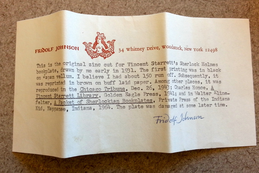 Johnson's note about the original zinc cut. Based on how the note is folded, it must at one time have been wrapped around the block. Photo by Cheryll Fong.