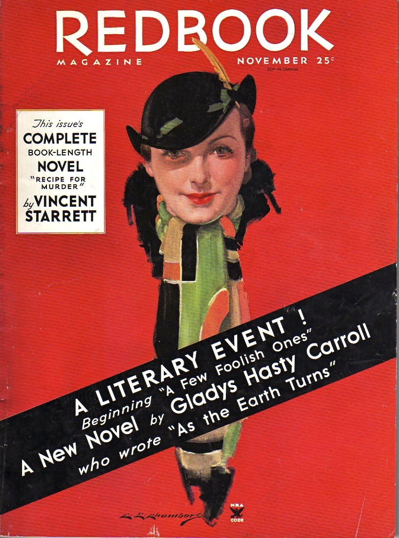 Redbook  magazine for November 1934 featuring Recipe for Murder by Starrett, later renamed The Great Hotel Murder for book publication.