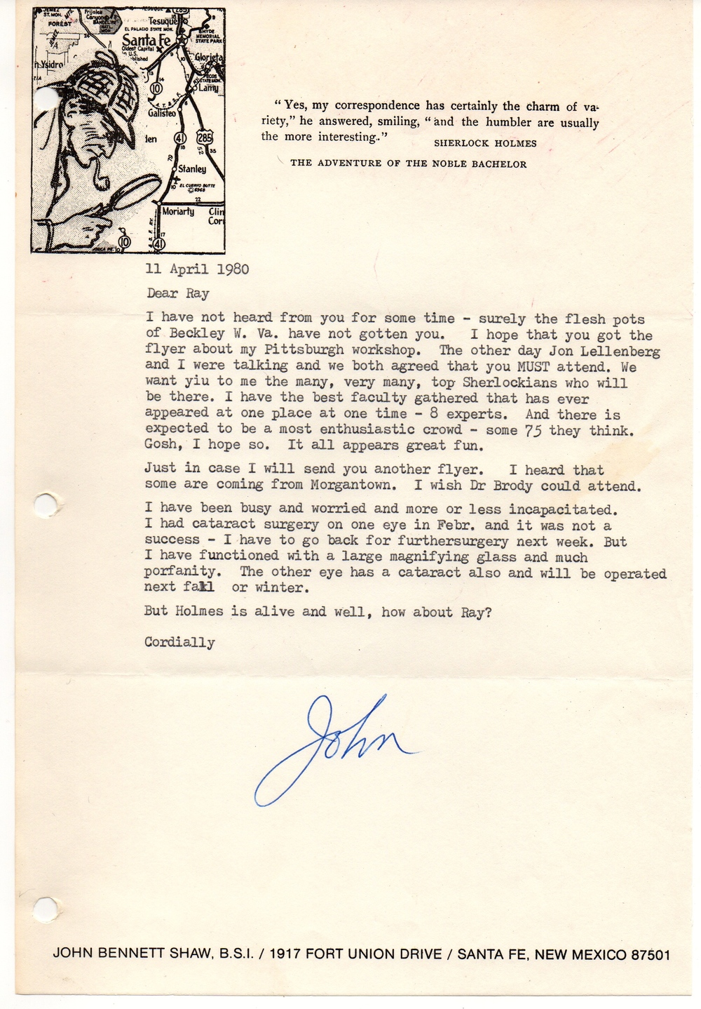 John's note encouraging me to attend his Holmes conference in Pittsburgh. I was working at a newspaper in Beckley, West Virginia at the time.