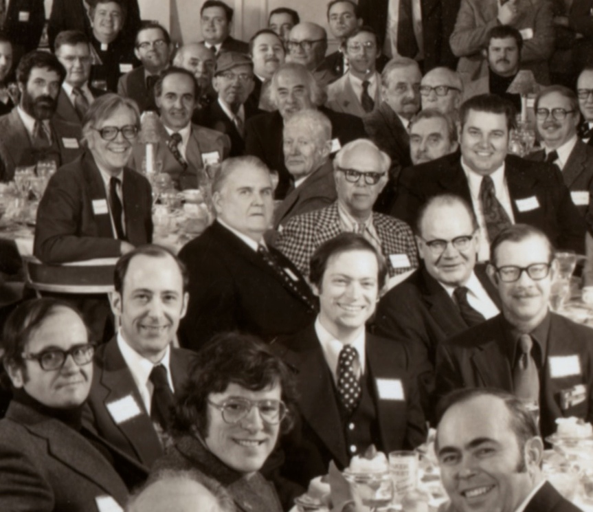 John at the 1977 BSI dinner. At his left (our right) is Martin Gardner, his old friend. Gardner was featured in my first posting at  Studies in Starrett.