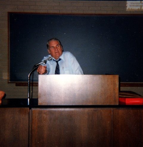 JBS at the lectern during the conference at Duquesne University. From my collection.