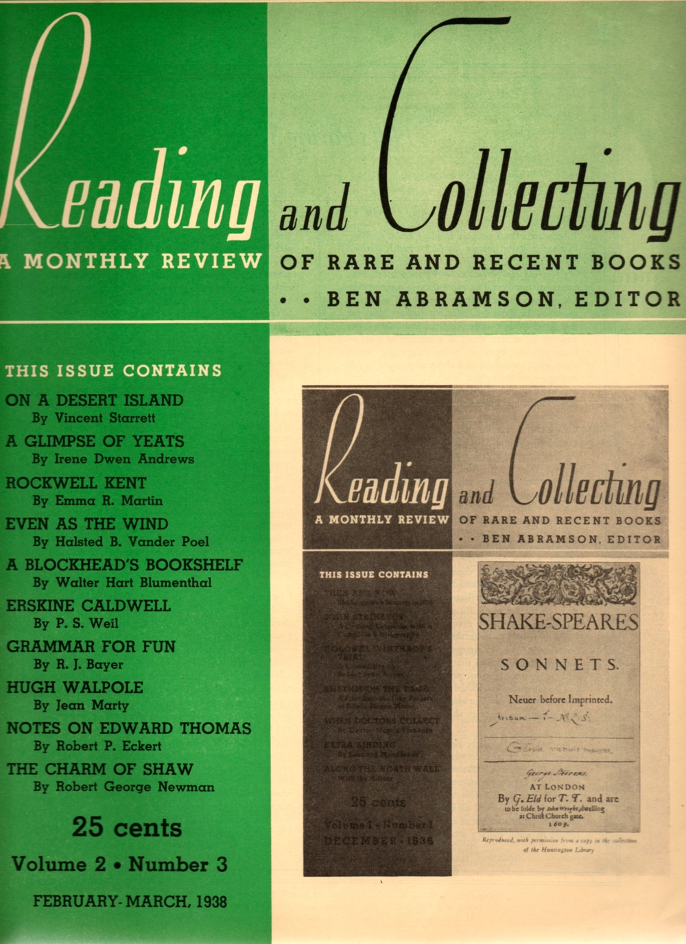 Starrett's article got top billing in the list on the left. Sadly, this was the last issue of  Reading and Collecting .