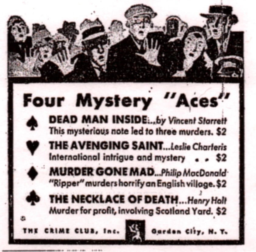 A newspaper ad for The Crime Club, featuring  Dead Man Inside .