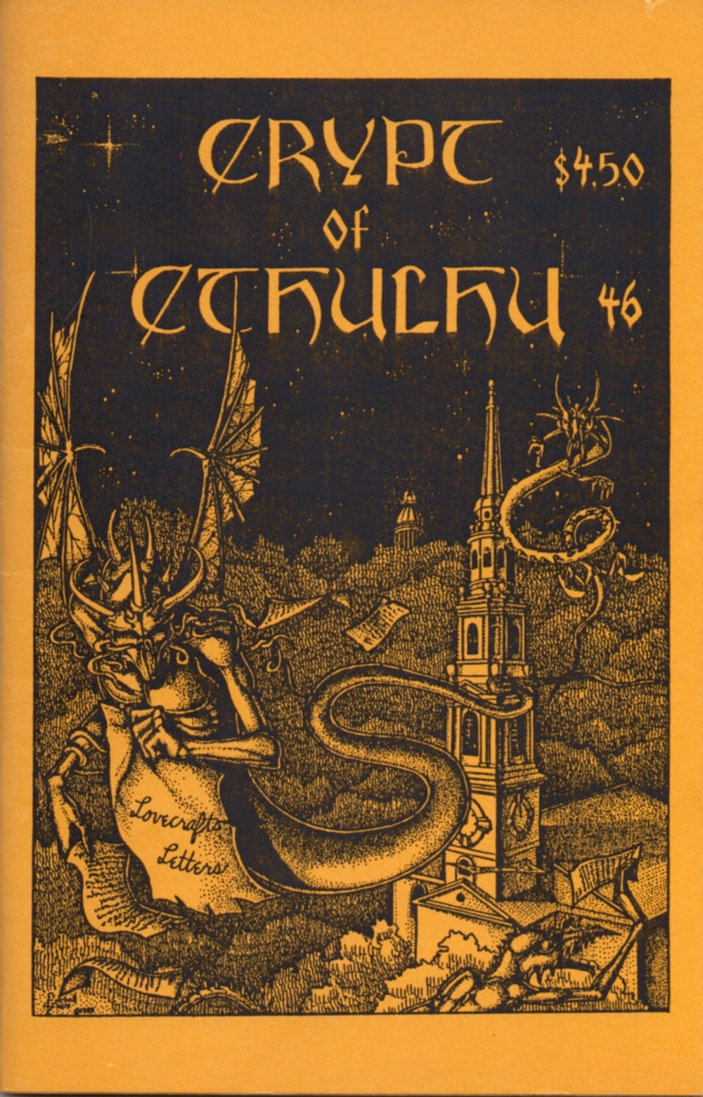 "The Crypt of Cthulhu for ""Eastertide"" 1987. Calling itself ""a pulp thriller and theological journal,"" this issue is dedicated to H.P. Lovecraft's letters, including the handful he wrote to Vincent Starrett."