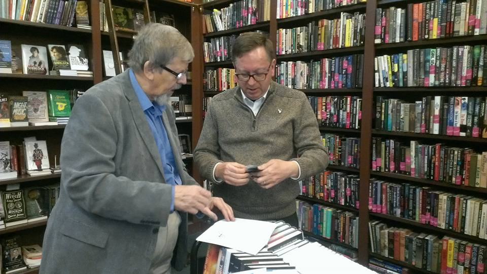 Bert Coules and I at the Mysterious Bookshop. Photo courtesy of Steve Doyle.