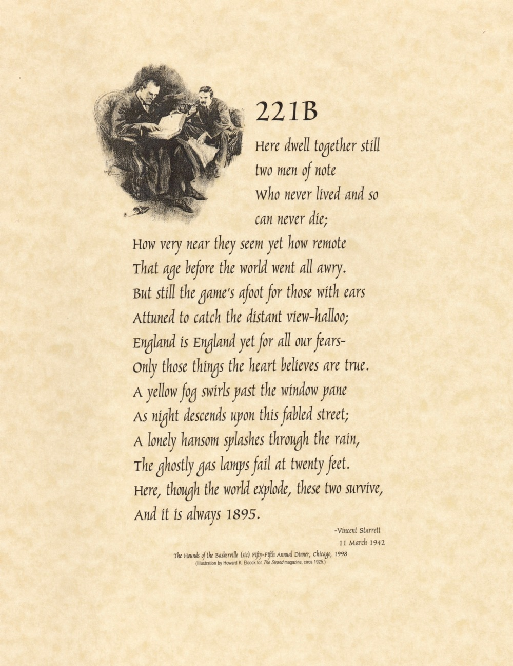 "A reprint of the famous sonnet ""221B"" done for The Hounds of the Baskerville."