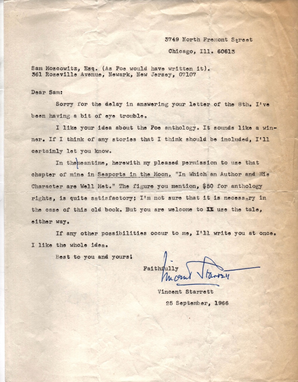 "Starrett's letter to Moskowitz permitting him to reprint ""In Which an Author and His Character are Well Met."""