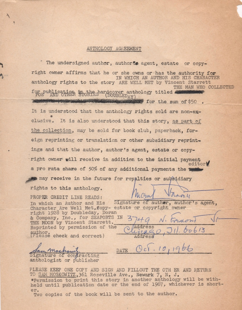 The contract between Moskowitz and Starrett.