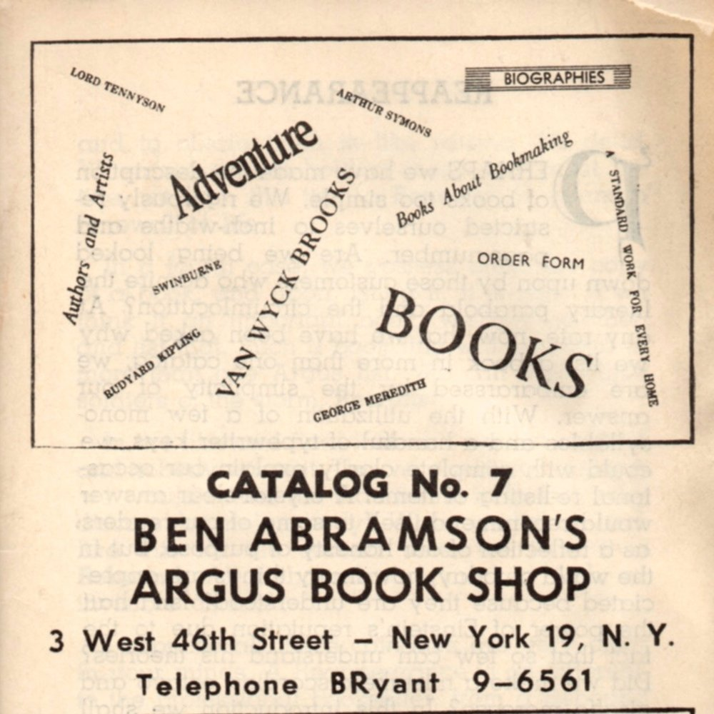 Cover to one of Ben Abramson's book catalogs.