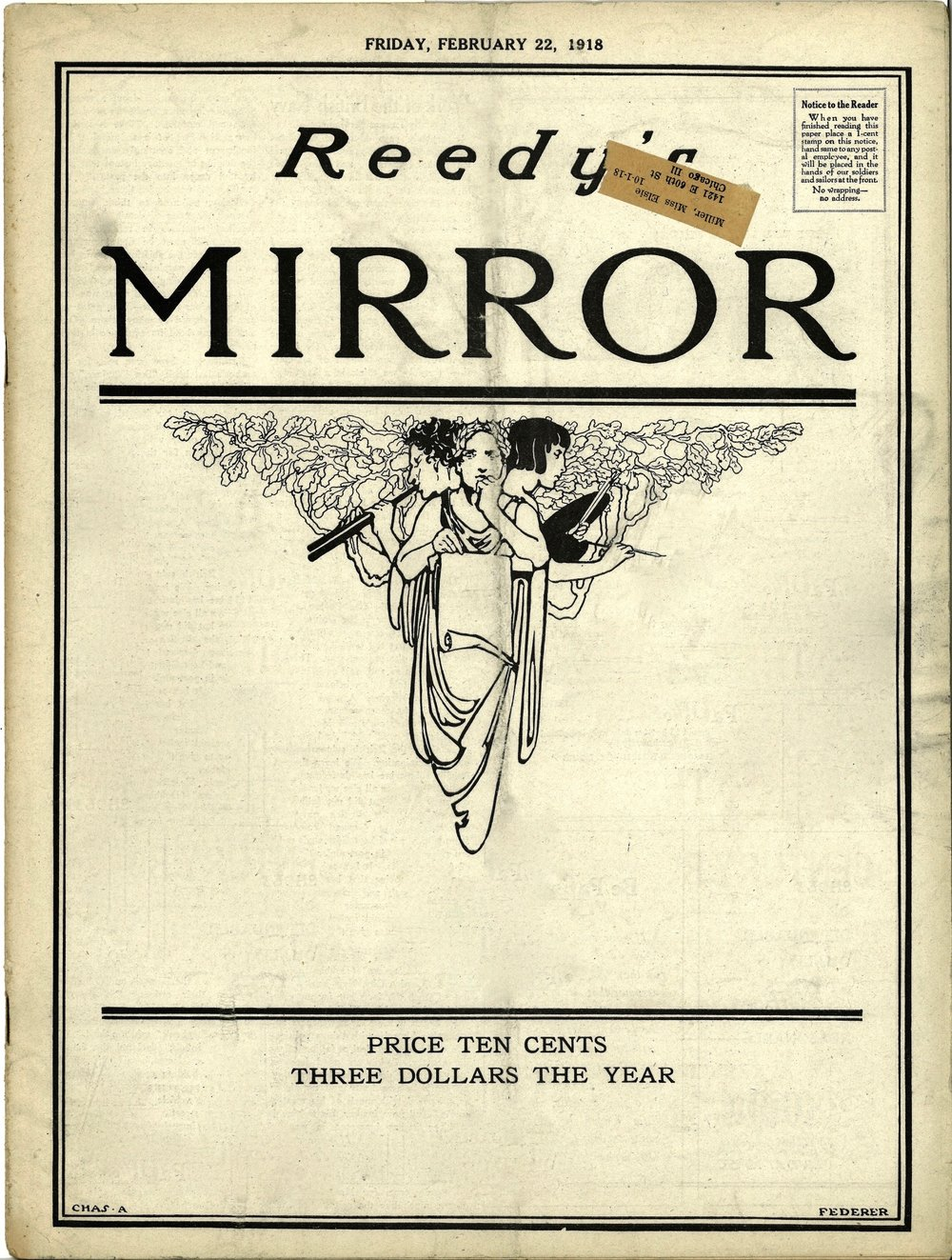 Cover for Reedy's Mirror for Feb. 22, 1918.