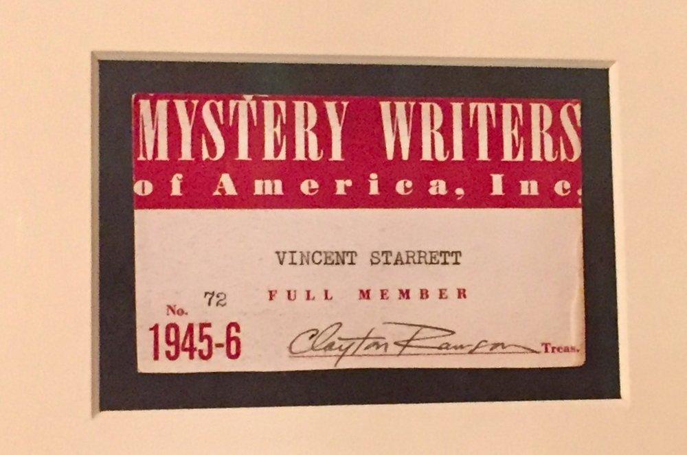 Clayton Rawson, a founder of the MWA, signed Starrett's membership card.