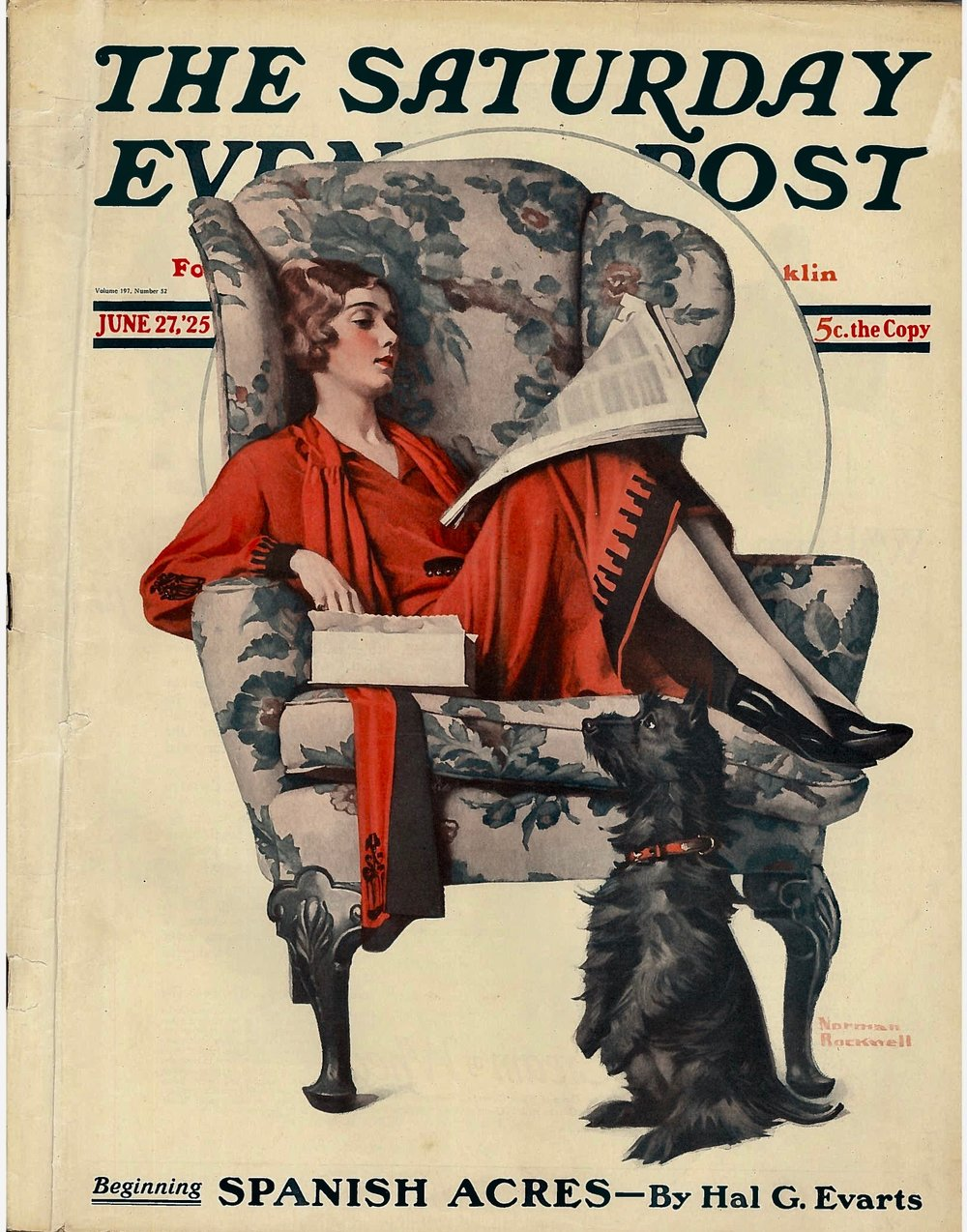 The cover to The Saturday Evening Post for June 27, 1925. After hunting for years for a copy, I finally acquired one last fall. Needless to say, it's become a treasure in my little collection.