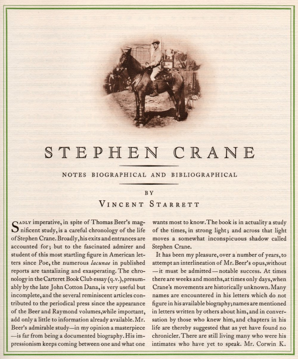 The first page of Starrett's lengthly article about Crane from  The Colophon, A Book Collector's Quarterly,  Part Seven, 1931.