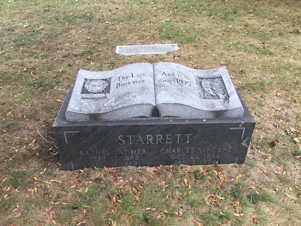 Another photo of the headstone showing wear as it looks today. The Latimers grave marker is above the Starrett stone.