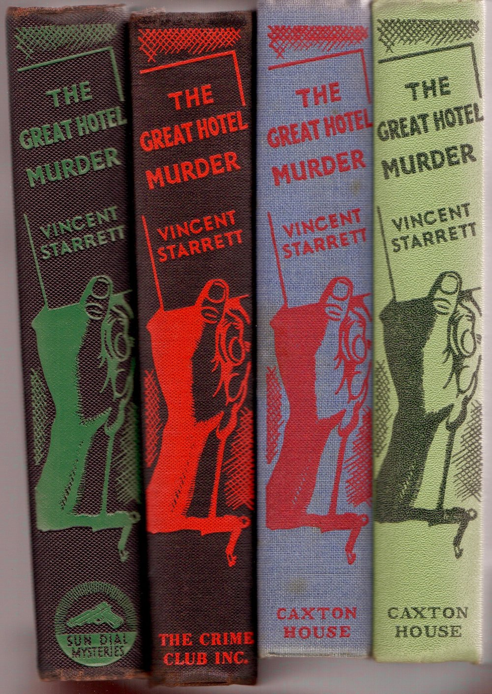 The four spines of the variant editions and states of the novel,  The Great Hotel Murder.