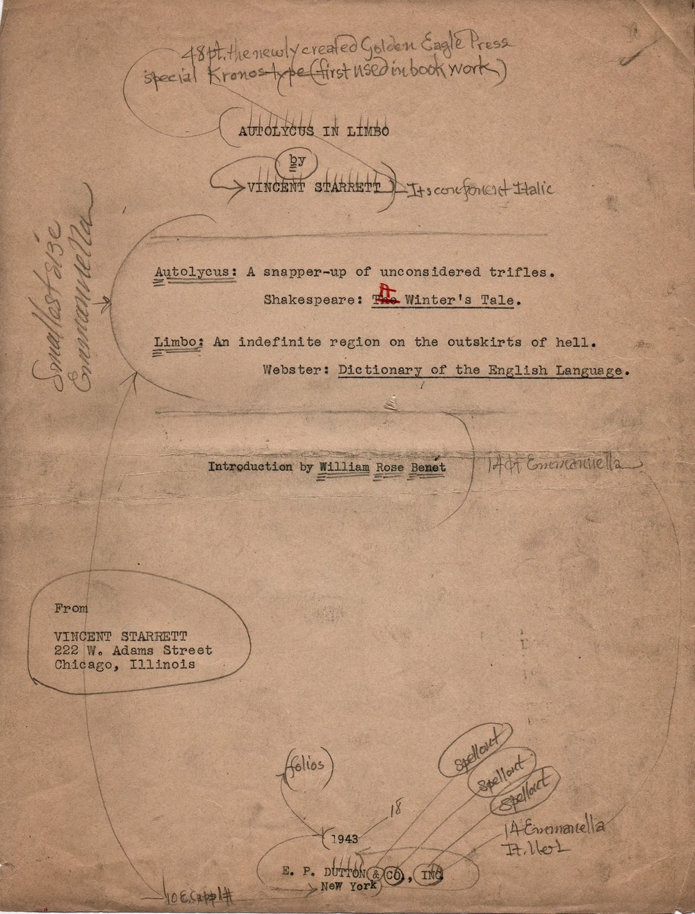 The manuscript page for the title page of  Autolycus in Limbo,  published in 1943 by E .P. Dutton & Co. The published title page is at the bottom of this post.