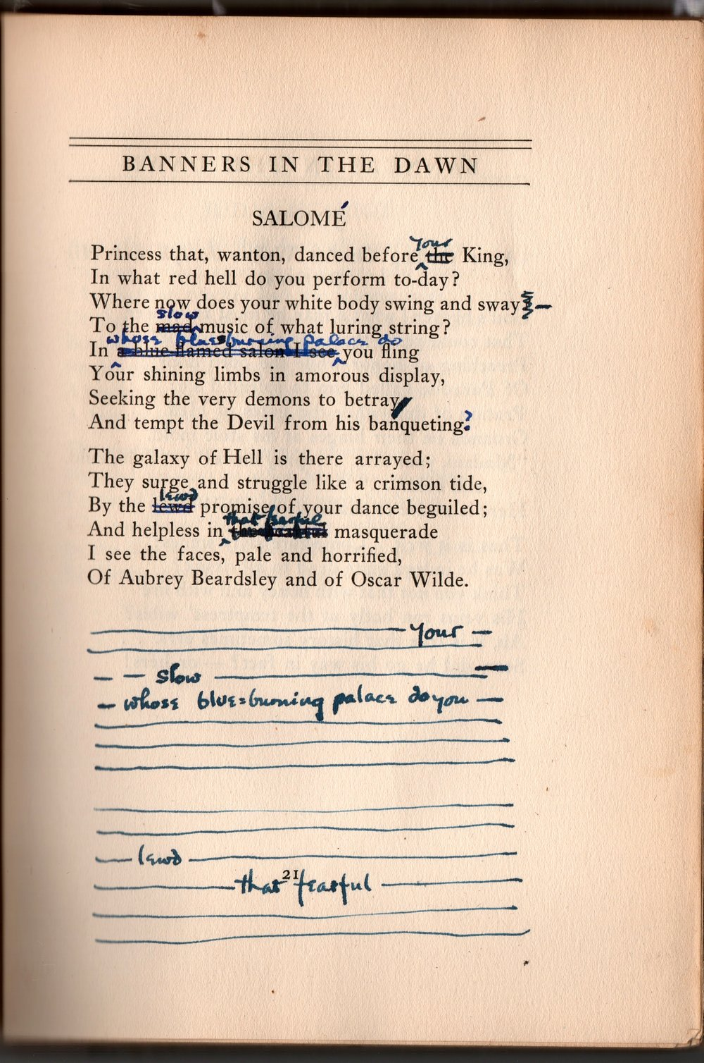 "The annotated version of ""Salomé"" that is in Fridolf Johnson's copy of Starrett's 1923 book of poetry,  Banners in the Dawn."