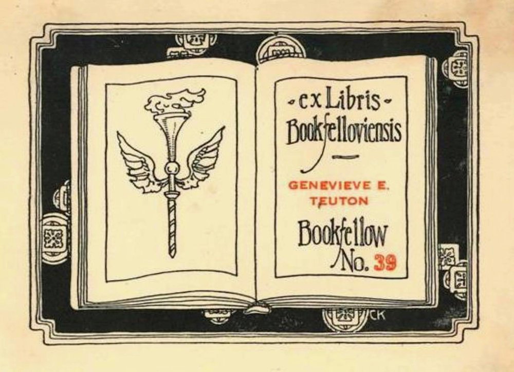 A bookplate by Crystal Kennedy for Bookfellow Genevieve E. Teuton