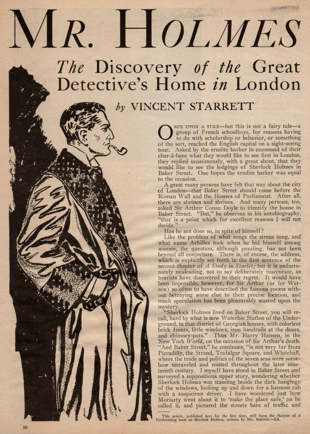"The opening spread to ""Mr. Holmes of Baker Street"" from  Real Detective  magazine for December, 1932."
