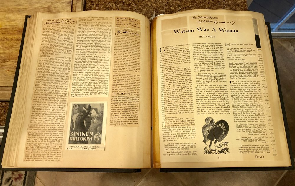 A few pages from Vincent Starrett's scrapbook of articles and book reviews.