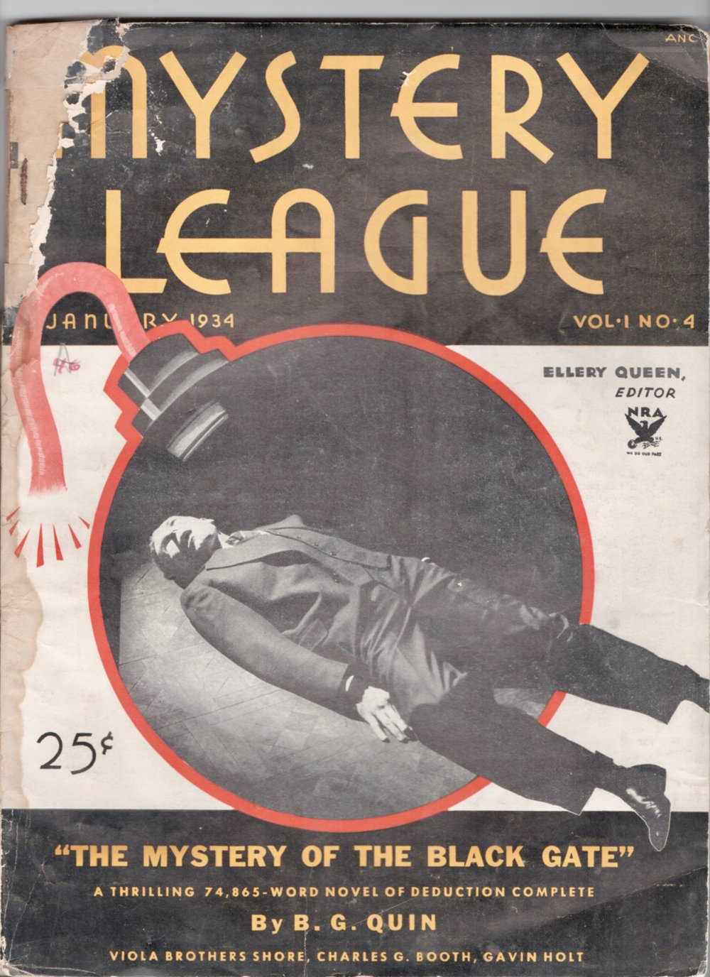 A rare and badly chewed copy of Mystery League magazine for January 1934 from my collection.