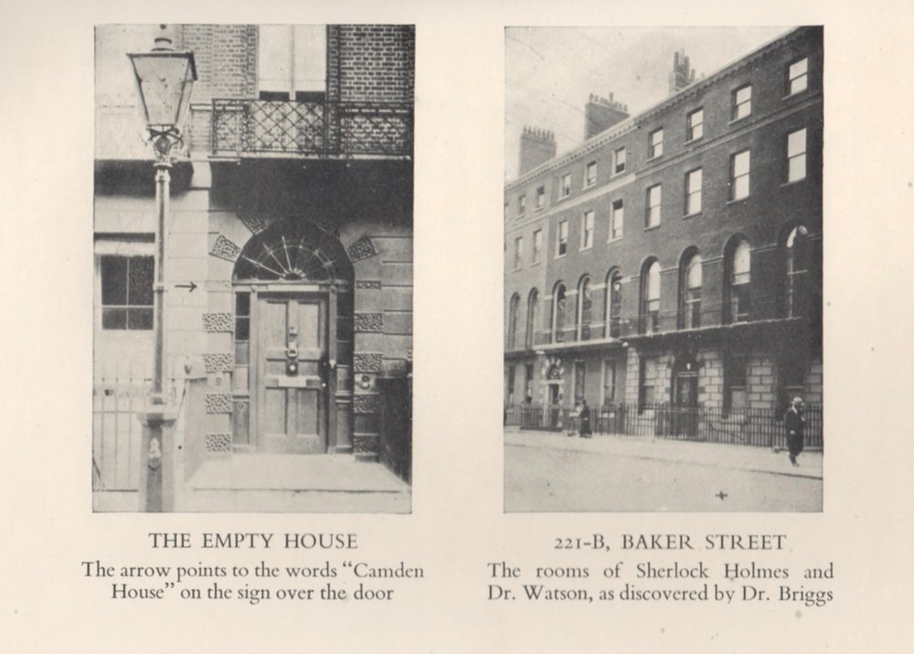 "Dr. Gray Chandler Briggs of St. Louis took these photos in the early 1930s while researching the ""true"" location of 221B on Baker Street. The same photos are used in both the American and British editions."
