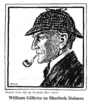 The image of William Gillette as Holmes drawn by Frederic Dorr Steele is missing from this edition.
