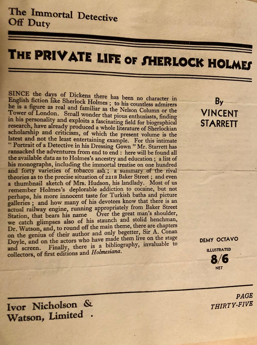 Ivor Nicholson & Watson's catalogue, with the page advertising the publication of  The Private Life of Sherlock Holmes . From Starrett's scrapbook of newspaper and magazine clippings.