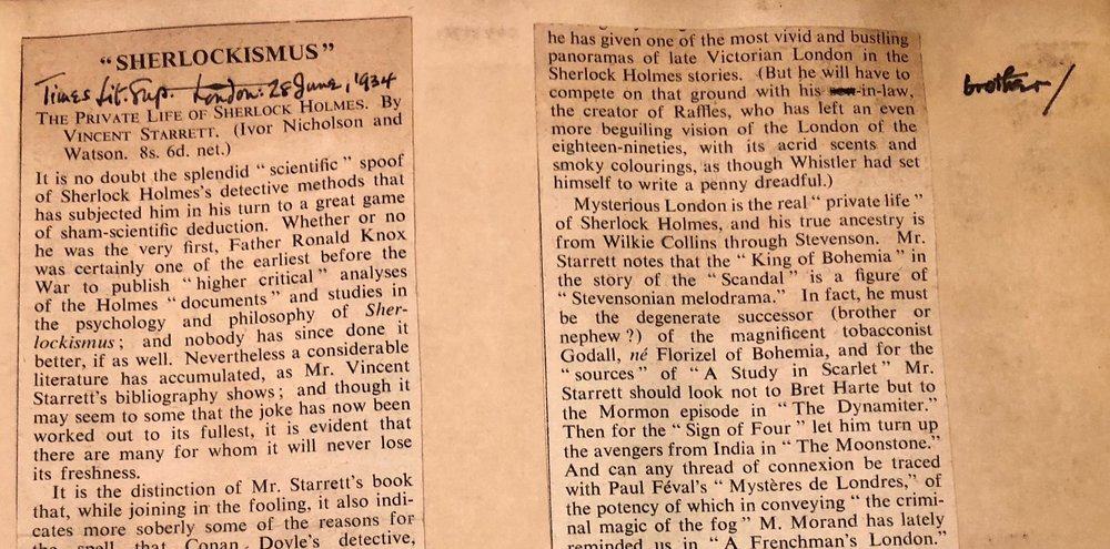 A portion of the  Times Literary Supplement 's  Private Life  review, pasted into Starrett's scrapbook. Notice how he edited the reference to Hornung in the second column.
