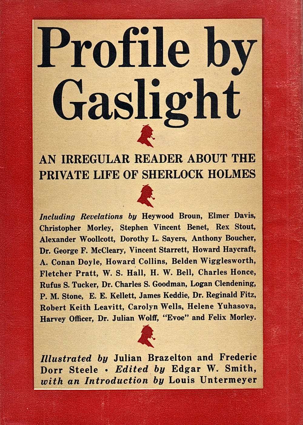 The dust jacket for Edgar Smith's anthology. Starrett contributed two poems and an essay on Mrs. Hudson, all reprinted from earlier publications.