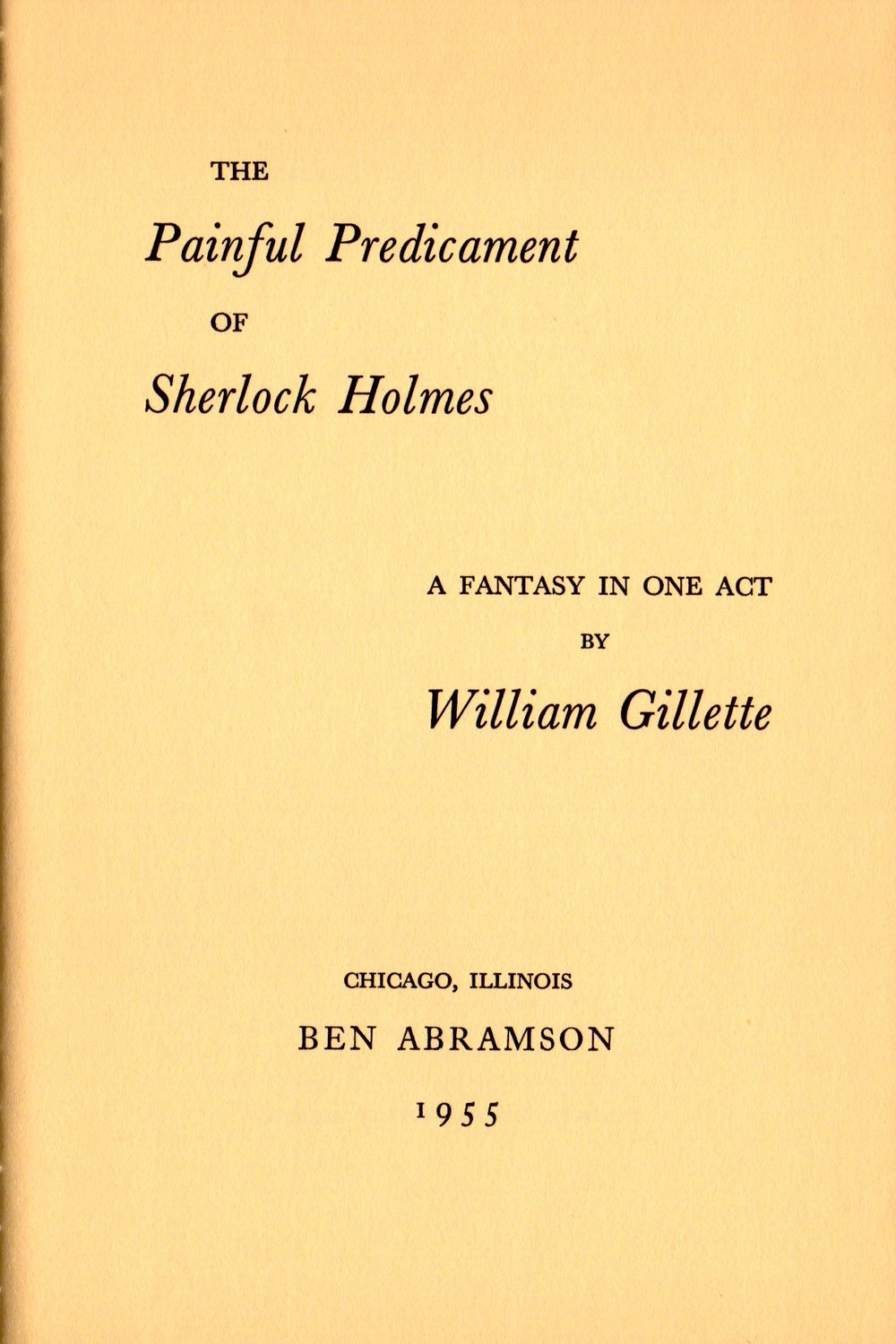 Title page to  The Painful Predicament of Sherlock Holmes.  Starrett contributed a forward.