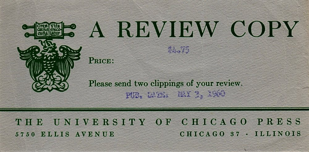 A review copy card that establishes the exact publication date: May 3, 1960.