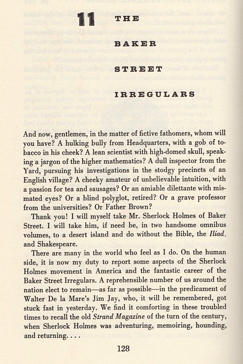The opening page of Starrett's chapter on the Baker Street Irregulars of New York.
