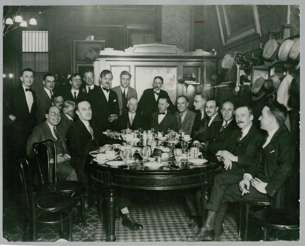 A farewell party for Chicago writer Ben Hecht at Schlogl's in Chicago. Starrett is the fellow in the center of the photo with a slightly puzzled look on his face.