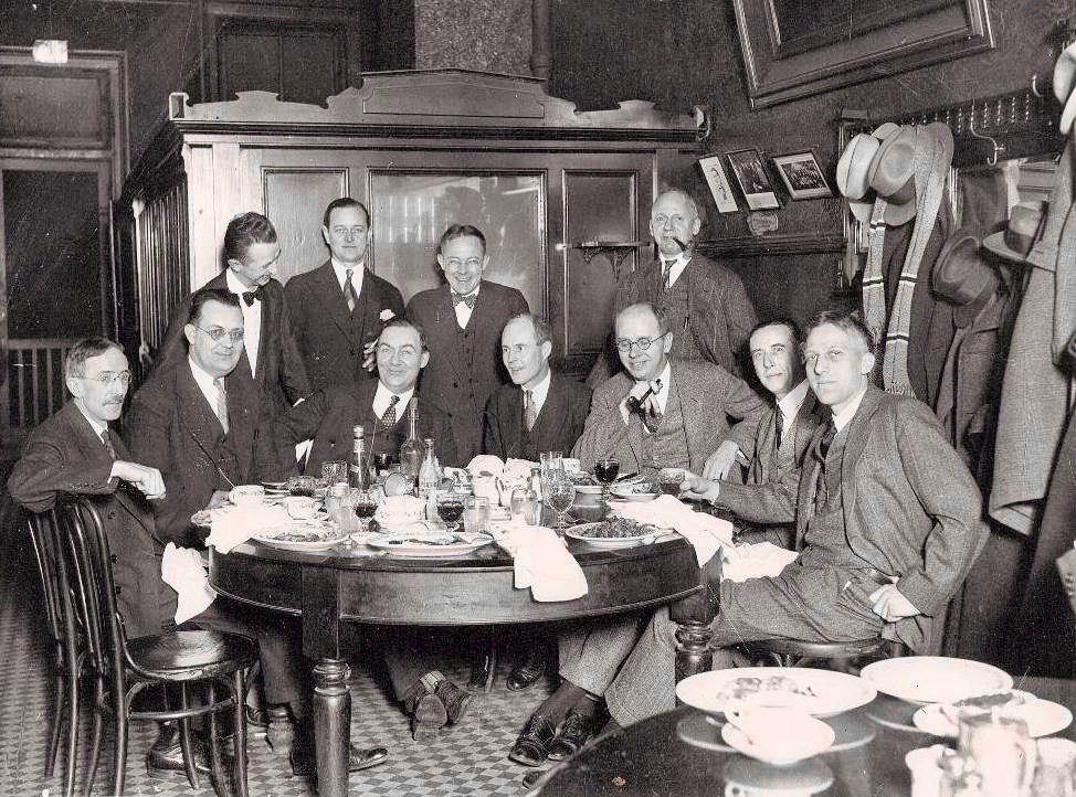 Another view of the main table in Schlogl's. I have no idea who these folks are, but they appear to be well fed and happy.  If there is a photo of Starrett and the early Hounds in Schlogl's, I've never seen it.