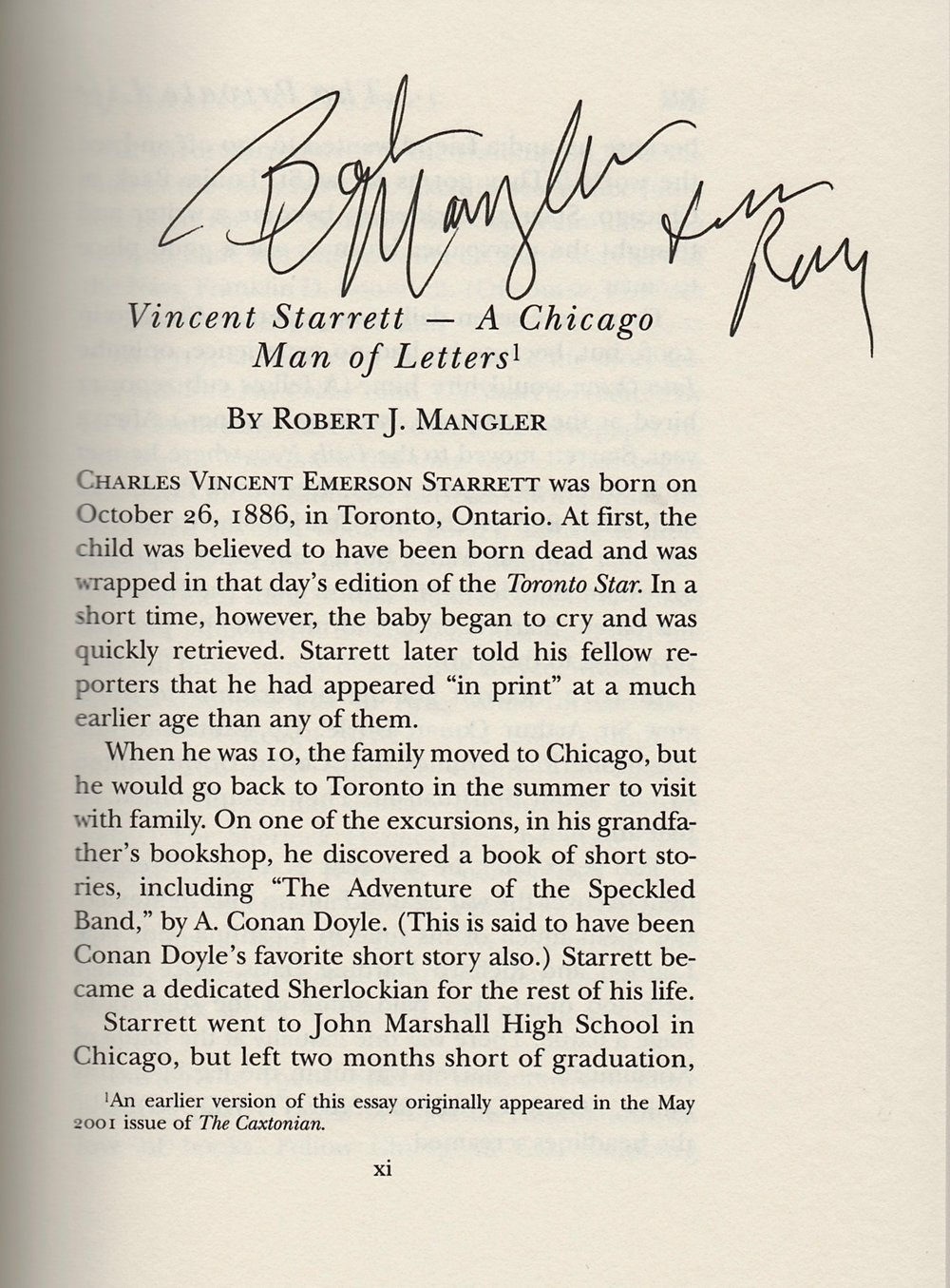 The late Robert Mangler, a friend of Starrett's and long-time leader of The Hounds of the Baskerville  (sic)  signed Ray's copy at at meeting of the Hounds.