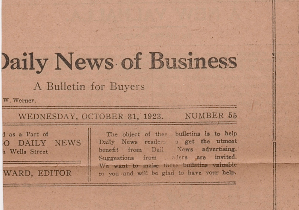A portion of the back of Hansen's review, with a date of Wednesday, Oct. 21, 1923.