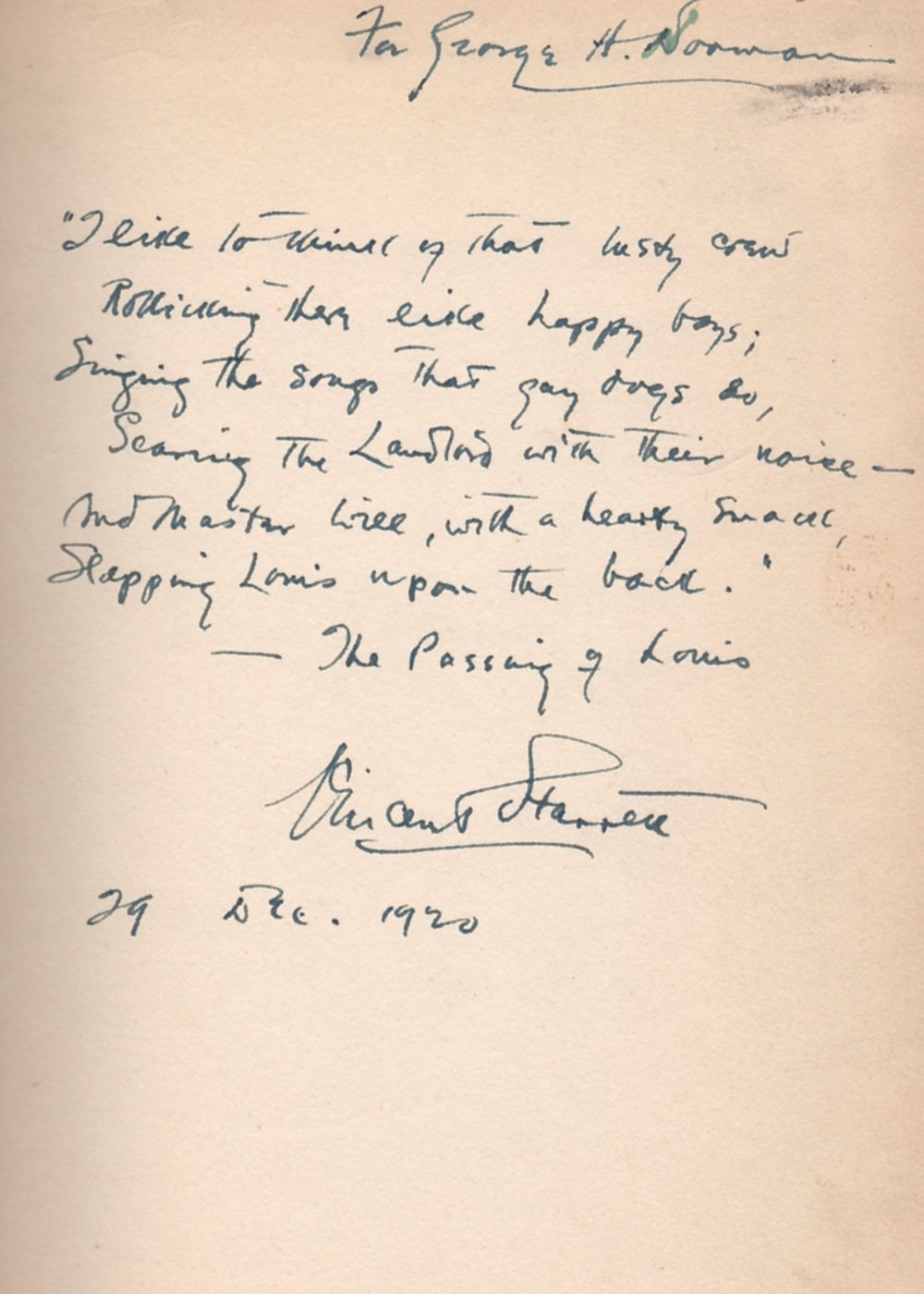 Starrett inscribed this copy of  In Praise of Stevenson  with a verse from his poem to the author.