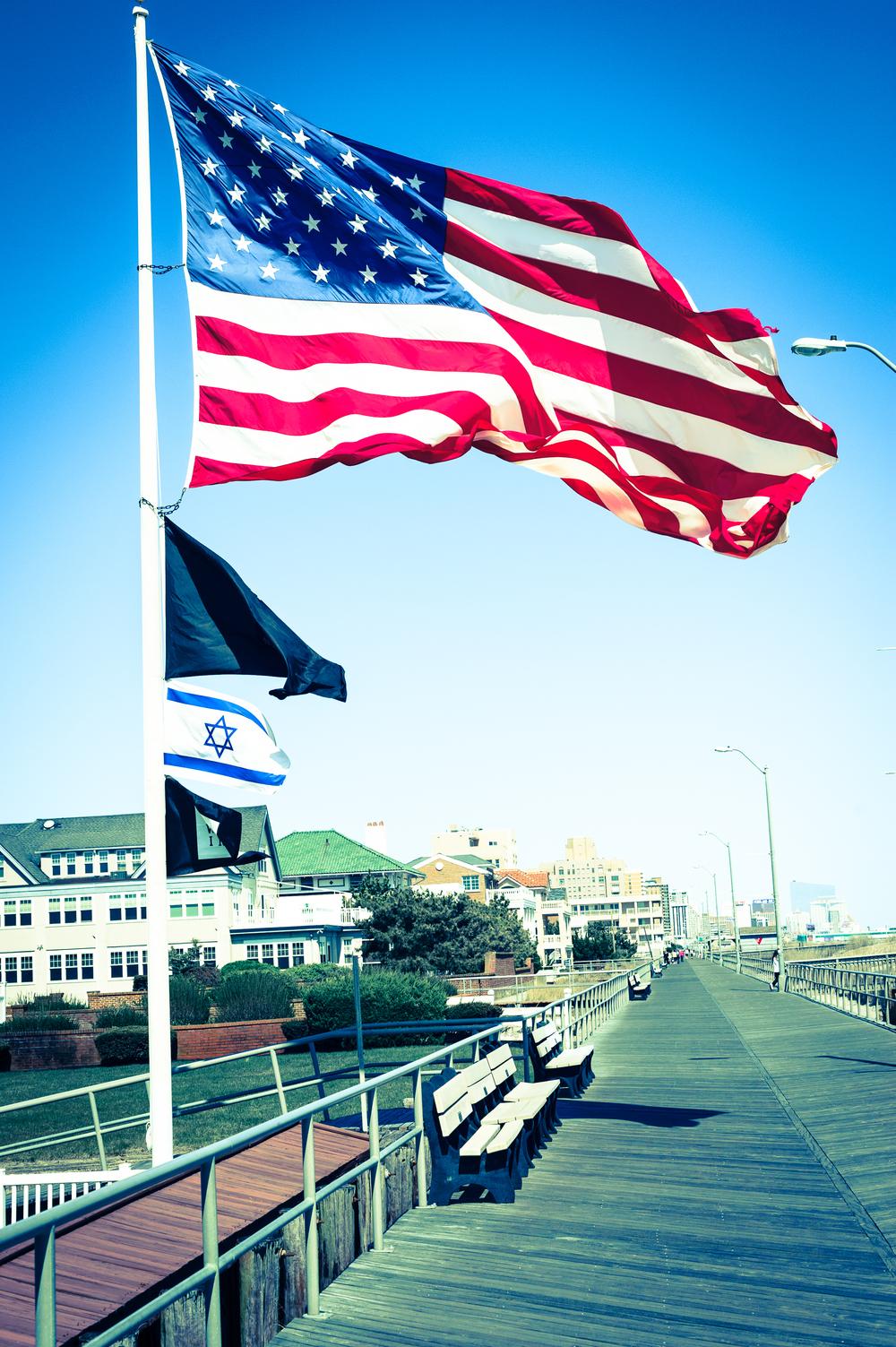 Huge American flag flown every summer.