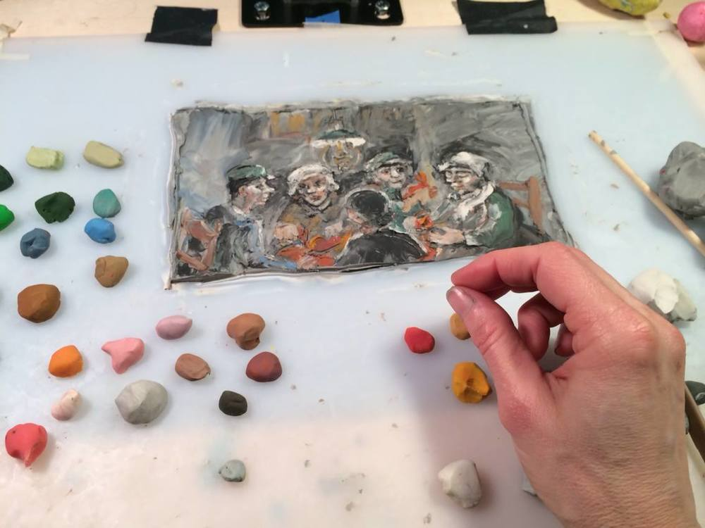 "My clay palette and image as I animated ""The Crab Eaters"" scene."