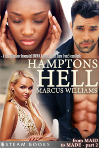 Hamptons Hell   by Marcus Williams   What would you do if a gang of rich, tall, blonde, fake-tanned women ganged up on you because you're black and they disapproved of your relationship with a wealthy white man?  This is the situation Alesha finds herself in. A former maid-turned-Hamptons-socialite, Alesha ends up lashing out in a public display of rage: she'd told her man, the wealthy and famous William Greyson, she wasn't one to back down, but she's starting to sense that he's more concerned about her image than her feelings…   Available now!   Amazon ,  Barnes & Noble ,  iTunes ,  Google-Play ,  All-Romance ,  Kobo   Coming Soon:  Scribd