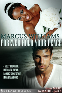 Forever Hold Your Peace    by Marcus Williams   It's the big day: Alesha and William are getting married.  They've come a long way since they first met - William is one of the richest and most powerful businessmen in the country and Alesha was his maid. His world is upper-class and designer clothes and her world is saying what she thinks, when she thinks it. Alesha's grown used to the gossipy social club of upper-class housewives, but as the reception unfolds, it's not just the snobs who aren't pleased by Alesha and William's union: Alesha's family also have something to say about the lovers.   Available now!   Amazon ,  Barnes & Noble ,  iTunes ,  Google-Play ,  All-Romance ,  Kobo ,  Scribd      New!