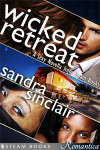 Wicked Retreat    by Sandra Sinclair   Nina's ready to settle in for a romantic getaway with Warren, her wealthy boyfriend, as the two arrive at his ski resort.  But they're not alone. They're going to be sharing the lodge with a colorful cast of shady characters:  Arthur, the plastic surgeon. Yuki, the chef. Keesha, the widow. Tammy, the secretive author. Phyllis, the socialite with killer curves. Alec, the butler. And most surprising of all: Warren's twin brother, William.  Nina is in for the ride of her life as the eccentric vacationers get into trouble with each other and unveil scandalous secrets. Their weekend retreat will be wicked, but definitely not boring.  Especially when guests start turning up dead…      Available Now at Amazon
